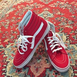 Vans Sk8-Hi Tops Skate Skater Red Sneakers